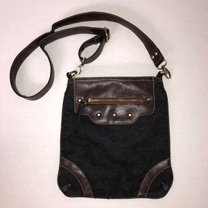 Black Denim Brown Stud Crossbody Purse Bag